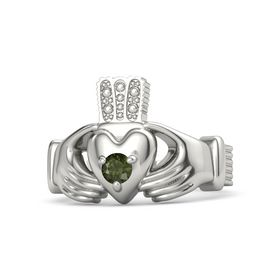 Men's Round Green Tourmaline Platinum Ring