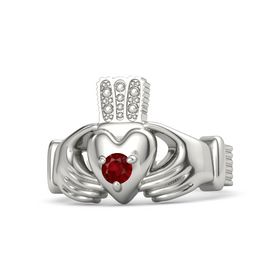 Men's Round Ruby Platinum Ring