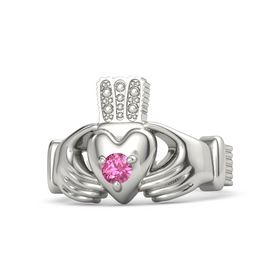 Men's Round Pink Tourmaline Platinum Ring