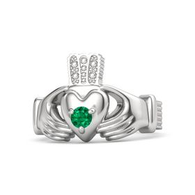 Men's Round Emerald Sterling Silver Ring