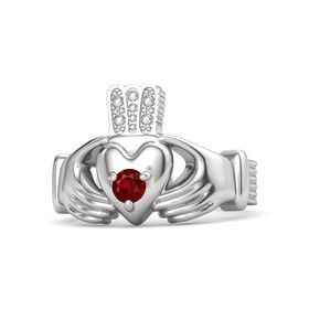 Men's Round Ruby Sterling Silver Ring
