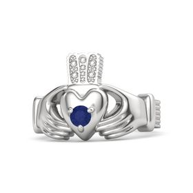 Men's Round Sapphire Sterling Silver Ring