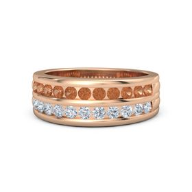 Men's 14K Rose Gold Ring with Fire Opal & Diamond