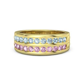 Men's 14K Yellow Gold Ring with Aquamarine & Pink Sapphire