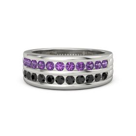 Men's Palladium Ring with Amethyst & Black Diamond