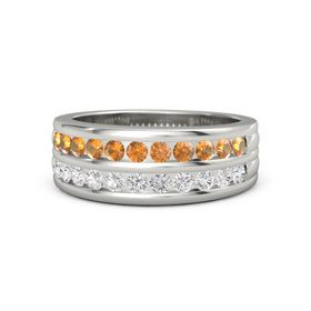 Men's Platinum Ring with Citrine & White Sapphire