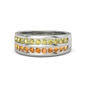 Platinum Ring with Yellow Sapphire and Citrine