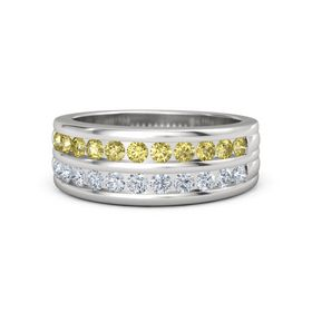 Sterling Silver Ring with Yellow Sapphire and Diamond