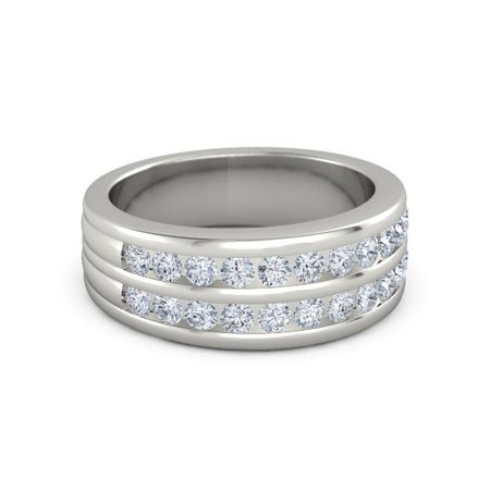 Mens 14K White Gold Ring with Diamond Double Crown Ring Gemvara