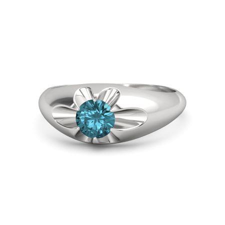 Men S Round London Blue Topaz Sterling Silver Ring