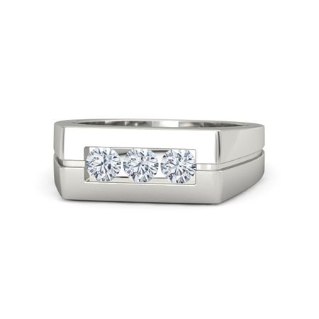 Men s Round Diamond 14K White Gold Ring with Diamond