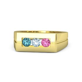 Round Aquamarine 14K Yellow Gold Ring with Pink Tourmaline and London Blue Topaz