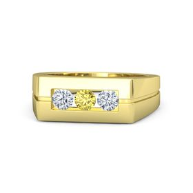 Men's Round Yellow Sapphire 14K Yellow Gold Ring with Diamond