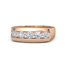 Men's Round Diamond 14K Rose Gold Ring with Diamond