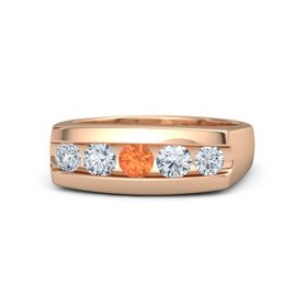 Men's Round Fire Opal 14K Rose Gold Ring with Diamond