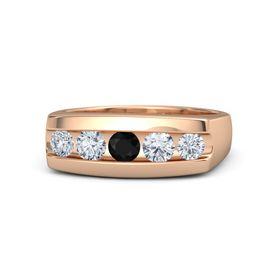 Men's Round Black Onyx 14K Rose Gold Ring with Diamond