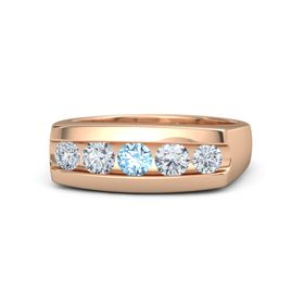 Men's Round Blue Topaz 14K Rose Gold Ring with Diamond
