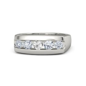 Men's Round Rock Crystal 14K White Gold Ring with Diamond