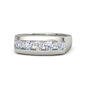 Men's Round White Sapphire 14K White Gold Ring with Diamond