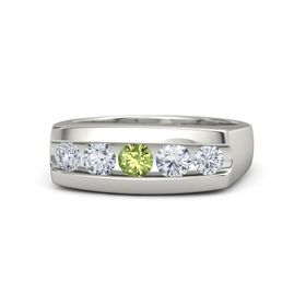 Men's Round Peridot 14K White Gold Ring with Diamond
