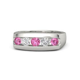 Round Pink Tourmaline 14K White Gold Ring with White Sapphire and Pink Tourmaline