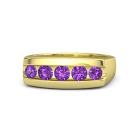 Men's Round Amethyst 14K Yellow Gold Ring with Amethyst