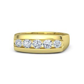 Men's Round Diamond 14K Yellow Gold Ring with Diamond