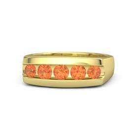 Men's Round Fire Opal 14K Yellow Gold Ring with Fire Opal