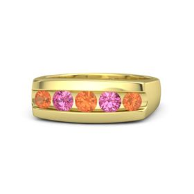 Round Fire Opal 14K Yellow Gold Ring with Pink Tourmaline and Fire Opal