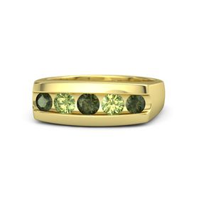 Round Green Tourmaline 14K Yellow Gold Ring with Peridot and Green Tourmaline