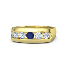 Men's Round Sapphire 14K Yellow Gold Ring with Diamond