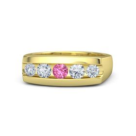 Men's Round Pink Tourmaline 14K Yellow Gold Ring with Diamond