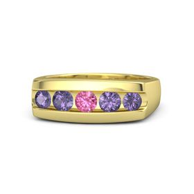 Round Pink Tourmaline 14K Yellow Gold Ring with Iolite