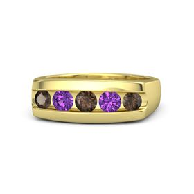Round Smoky Quartz 14K Yellow Gold Ring with Amethyst and Smoky Quartz
