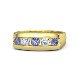 Men's Round Tanzanite 14K Yellow Gold Ring with Diamond & Tanzanite
