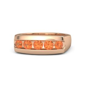 Men's Round Fire Opal 18K Rose Gold Ring with Fire Opal