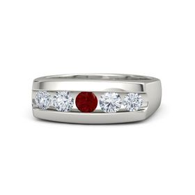 Men's Round Ruby 18K White Gold Ring with Diamond