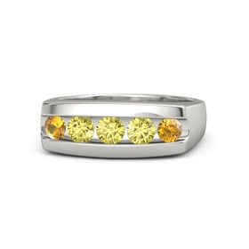 Round Yellow Sapphire 18K White Gold Ring with Yellow Sapphire and Citrine