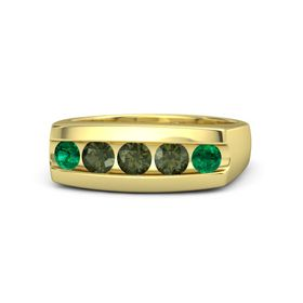 Men's Round Green Tourmaline 18K Yellow Gold Ring with Green Tourmaline & Emerald