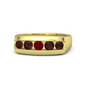 Round Ruby 18K Yellow Gold Ring with Red Garnet