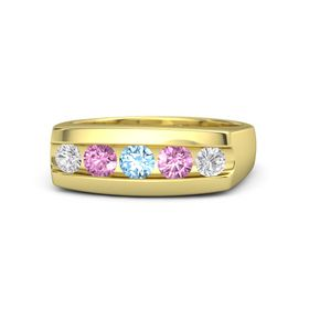 Round Blue Topaz 18K Yellow Gold Ring with Pink Sapphire and White Sapphire