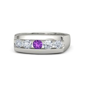 Men's Round Amethyst Palladium Ring with Diamond