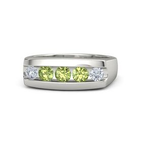 Men's Round Peridot Palladium Ring with Peridot & Diamond