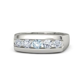 Men's Round Aquamarine Palladium Ring with Diamond