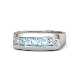 Men's Round Blue Topaz Palladium Ring with Blue Topaz & Diamond