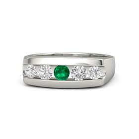 Round Emerald Platinum Ring with White Sapphire