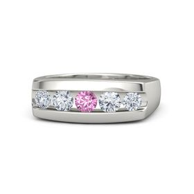 Men's Round Pink Sapphire Platinum Ring with Diamond