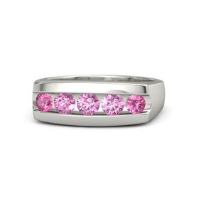 Round Pink Sapphire Platinum Ring with Pink Sapphire and Pink Tourmaline