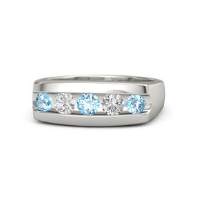 Round Blue Topaz Platinum Ring with White Sapphire and Blue Topaz