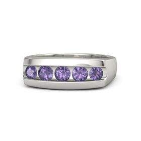 Men's Round Iolite Platinum Ring with Iolite